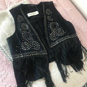NWT suede embellished vest